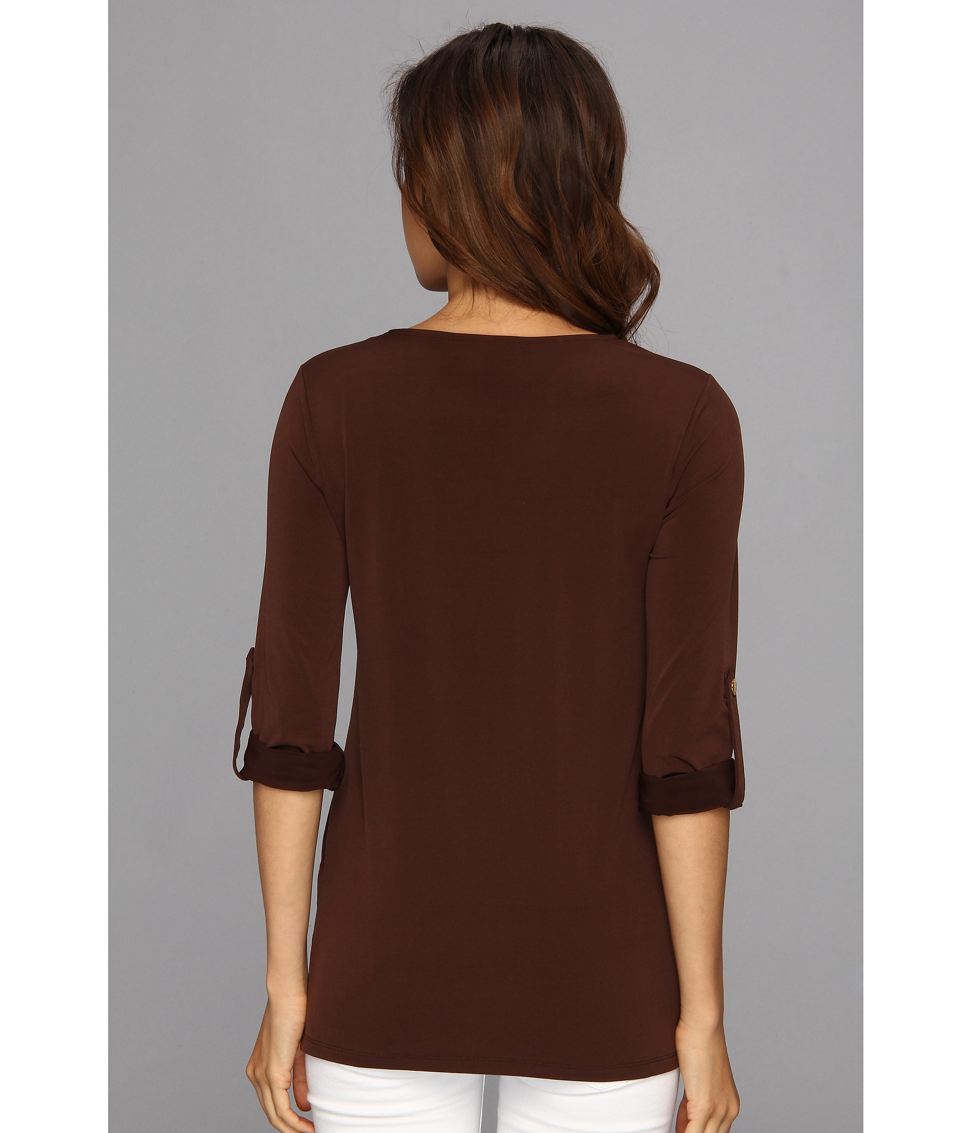 7f397c2fb5b4c0 Lyst - MICHAEL Michael Kors Matte Jersey Chain Lace Up Tunic in Brown