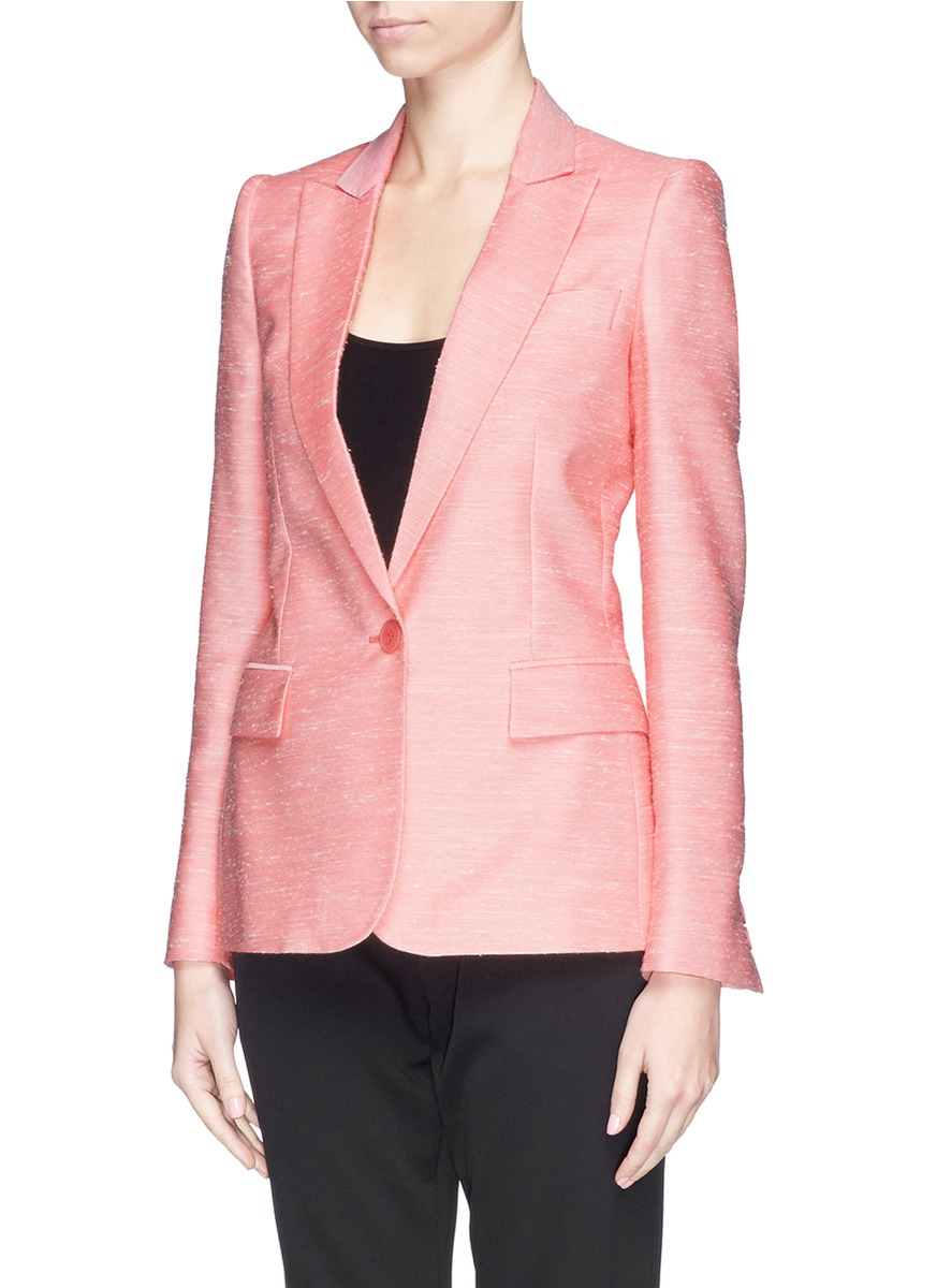 Stella mccartney Napped Tweed Tailored Jacket in Pink | Lyst