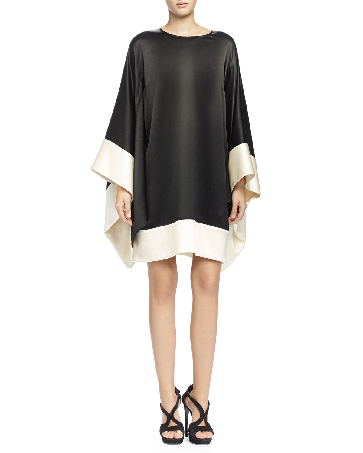 Alexander Mcqueen Colorblock Kimono Sleeve Dress In Black