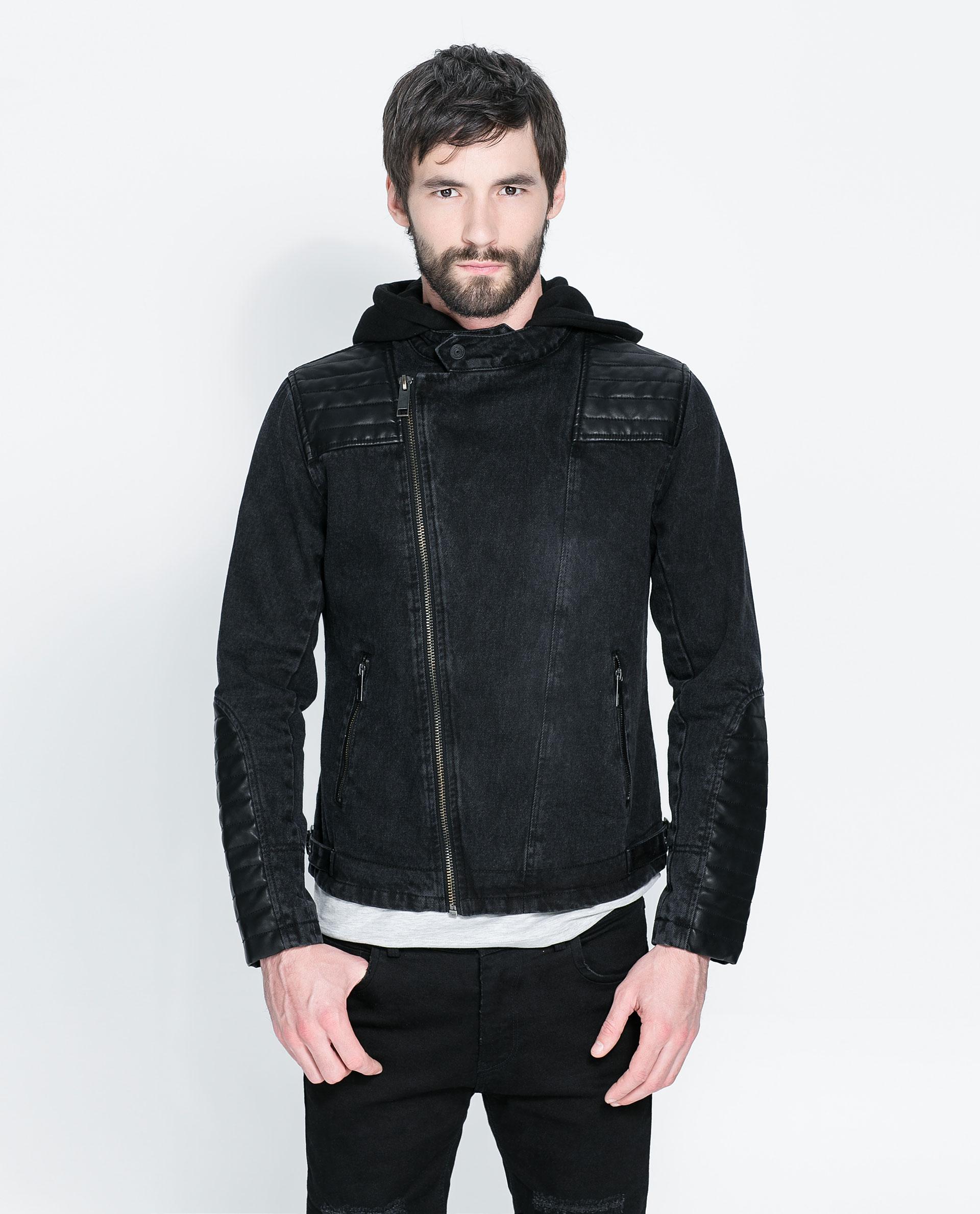 Zara Denim Biker Jacket With Details And Hood In Black For