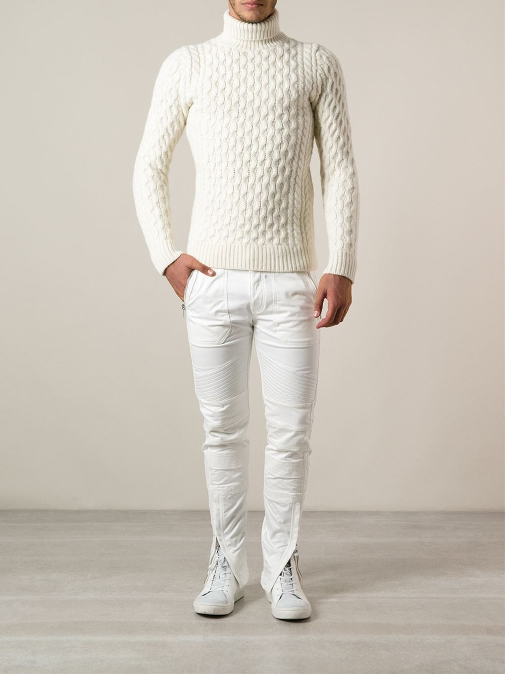 Diesel Cable Knit Turtleneck Sweater In White For Men Lyst