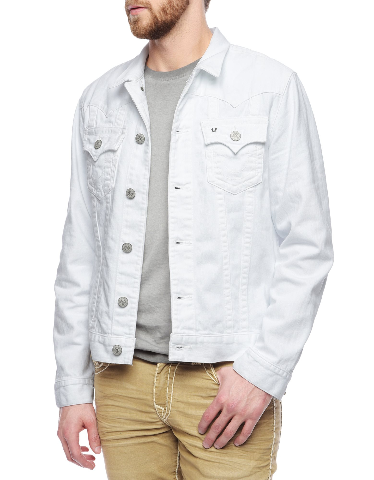 true religion jimmy mens white denim jacket in white for