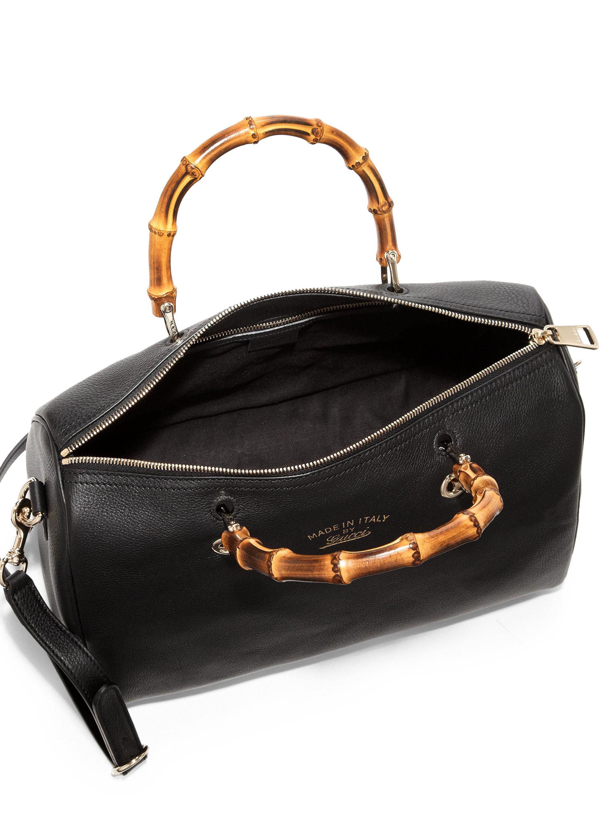 lyst gucci bamboo shopper boston bag in black. Black Bedroom Furniture Sets. Home Design Ideas