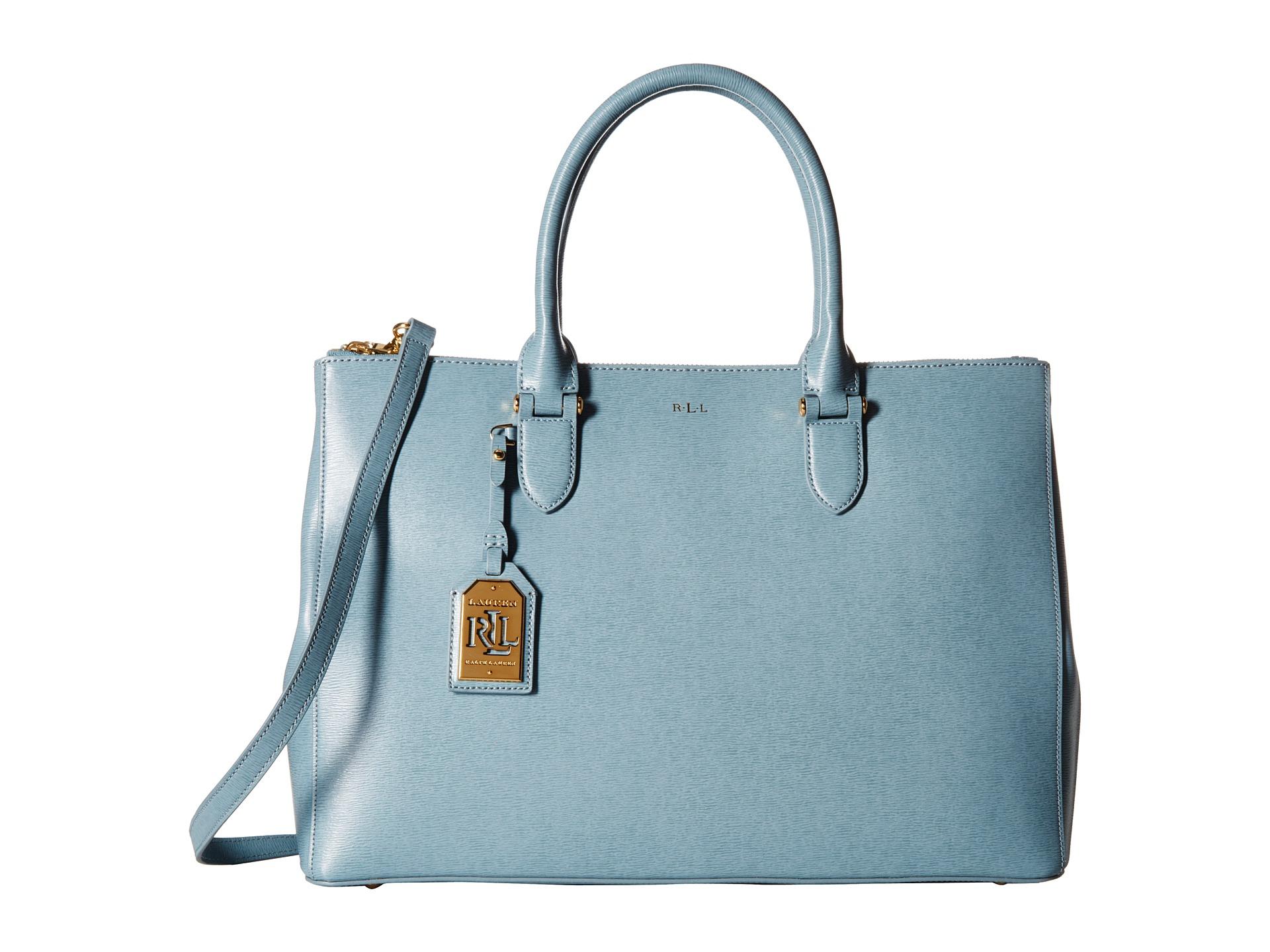 32611f03b0 Lyst - Lauren by Ralph Lauren Newbury Double Zip Satchel in Blue