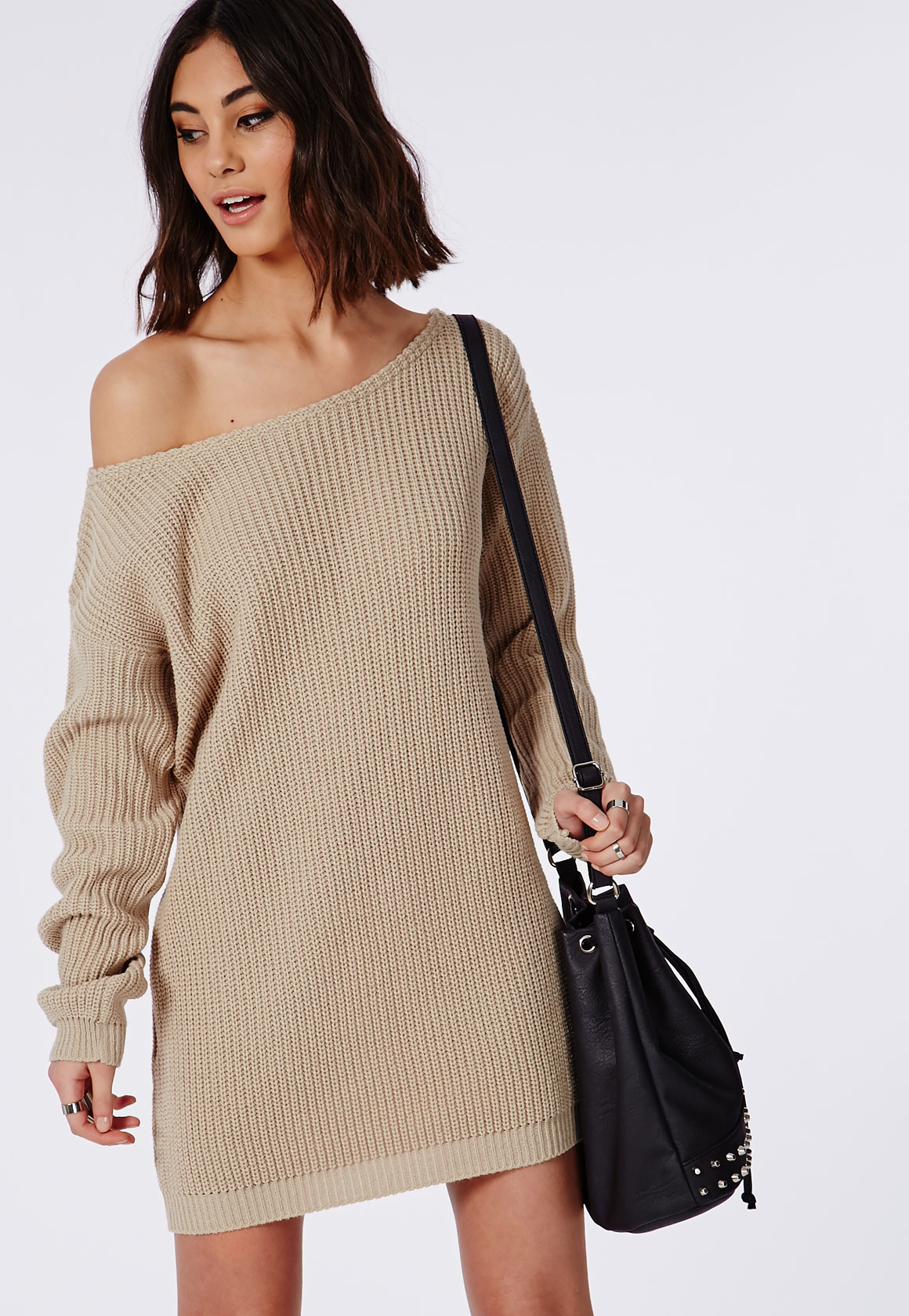 Missguided Ayvan Off Shoulder Knitted Sweater Dress Light Stone in ...
