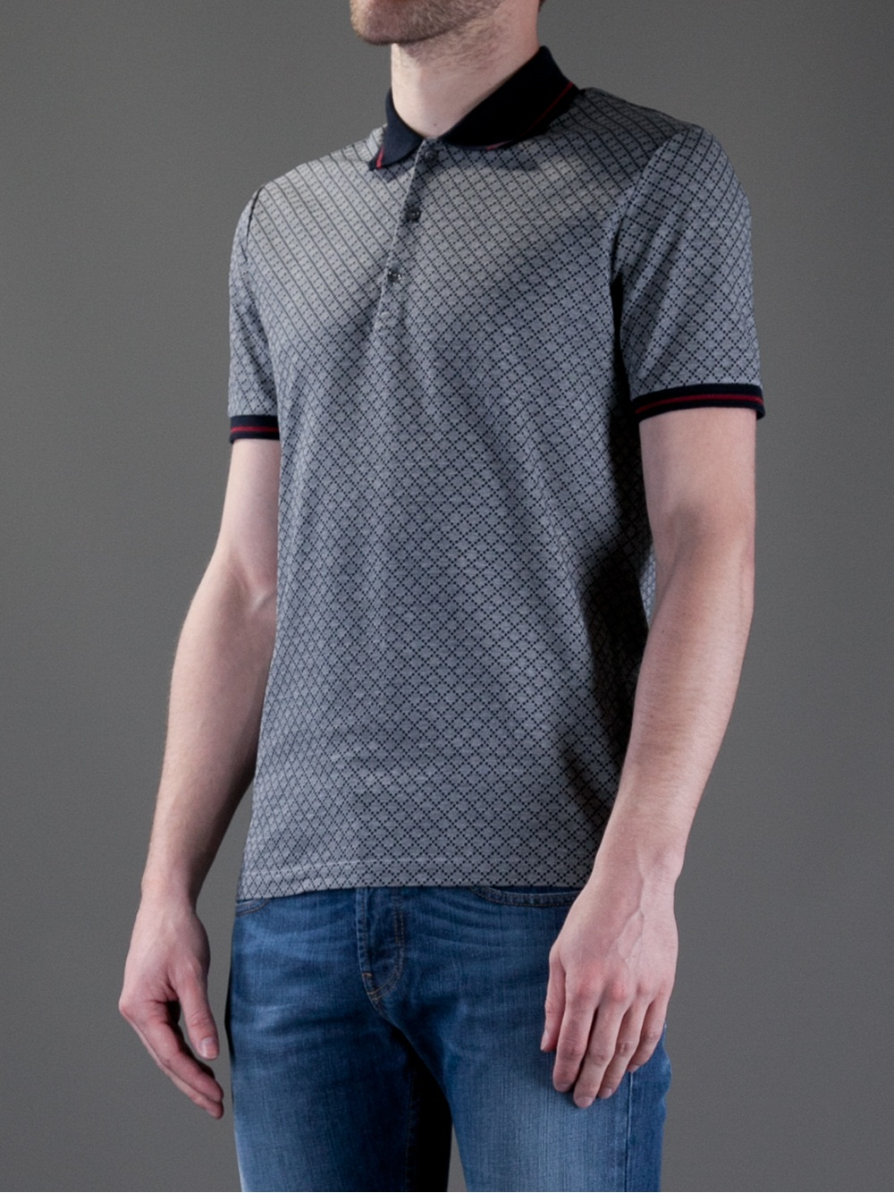 6270c3b7a1b8 Gucci Checked Polo Shirt in Gray for Men - Lyst