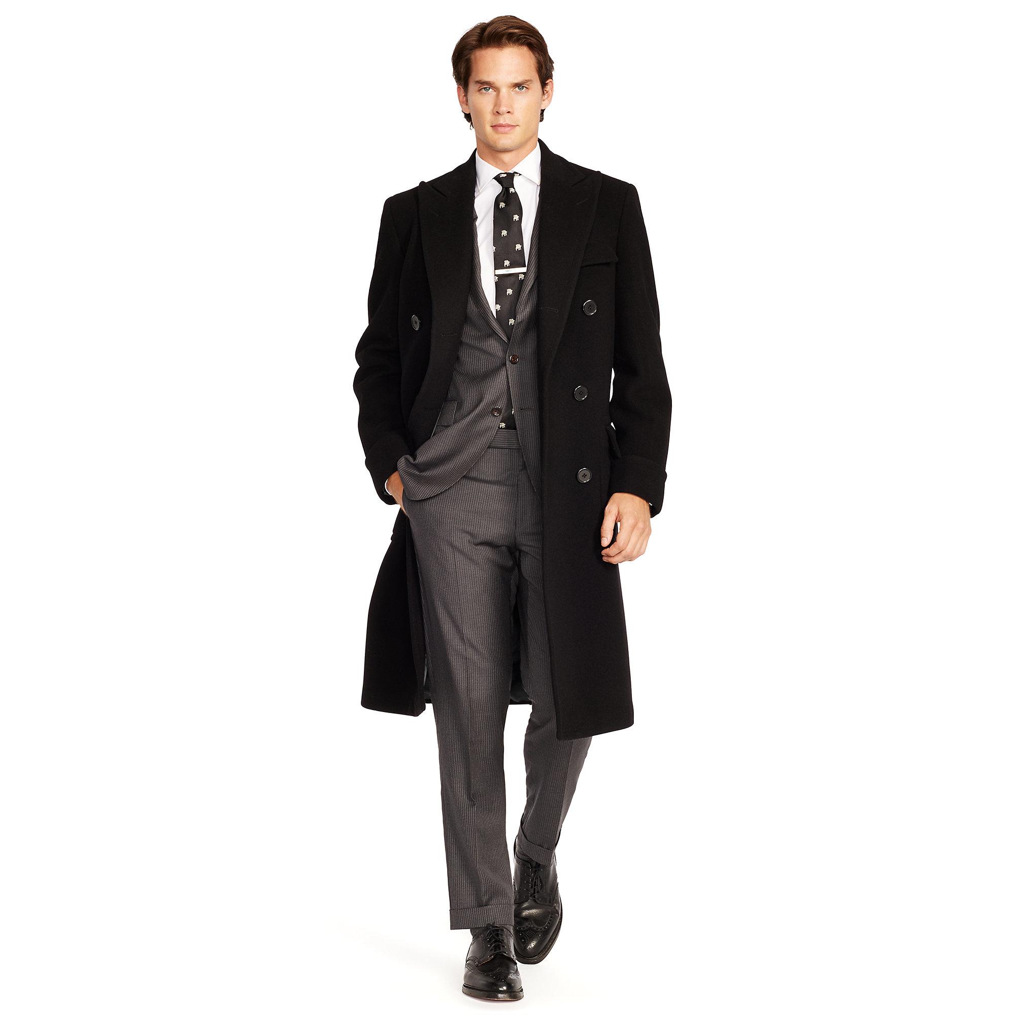 lyst polo ralph lauren wool melton polo coat in black