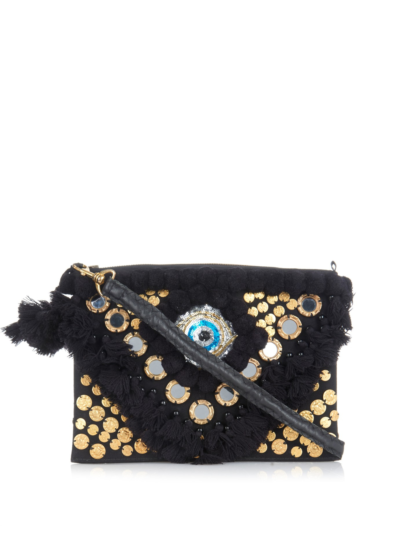 Figue Evil Eye Embroidered Cross-body Bag in Black | Lyst