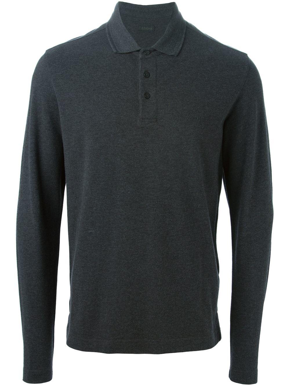 Z zegna long sleeve polo shirt in gray for men grey lyst for Grey long sleeve shirts