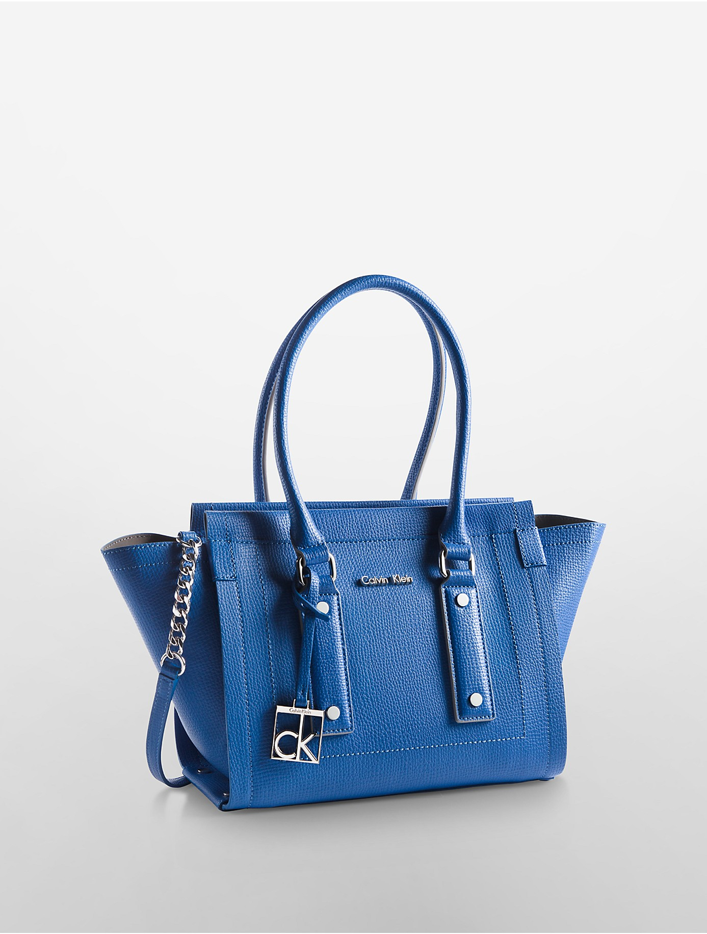 Calvin Klein Daron Patent Trimmed City Tote Bag In Blue Lyst