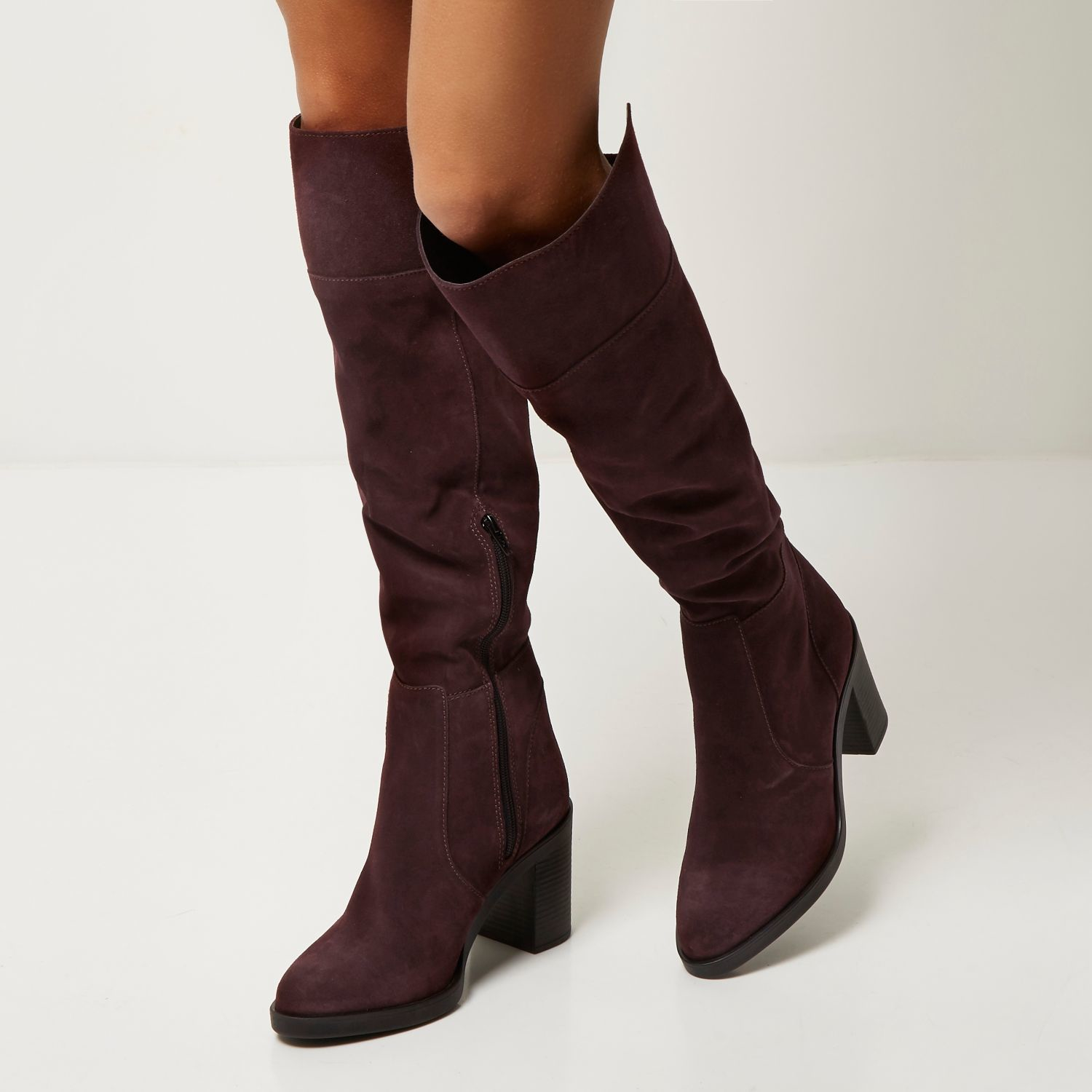 ad8abed2fb1 Lyst - River Island Dark Red Suede Knee High Boots in Red