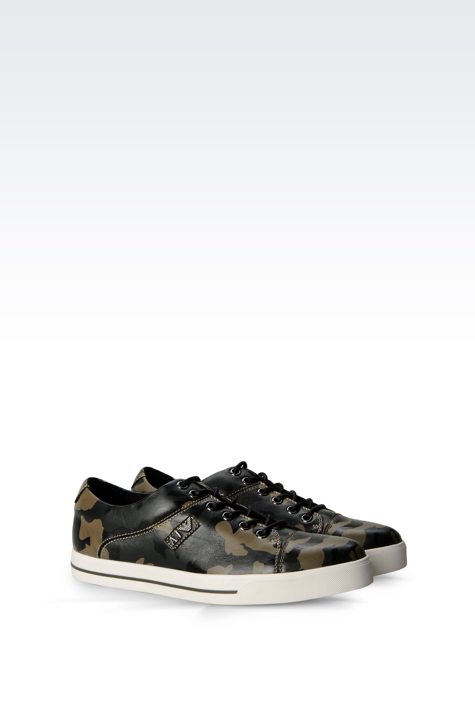 armani jeans sneaker in camouflage print leather in black for men. Black Bedroom Furniture Sets. Home Design Ideas