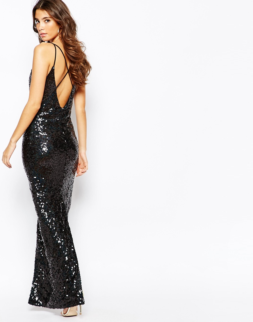 Naanaa All Over Sequin Dress With Cross Back in Black - Lyst