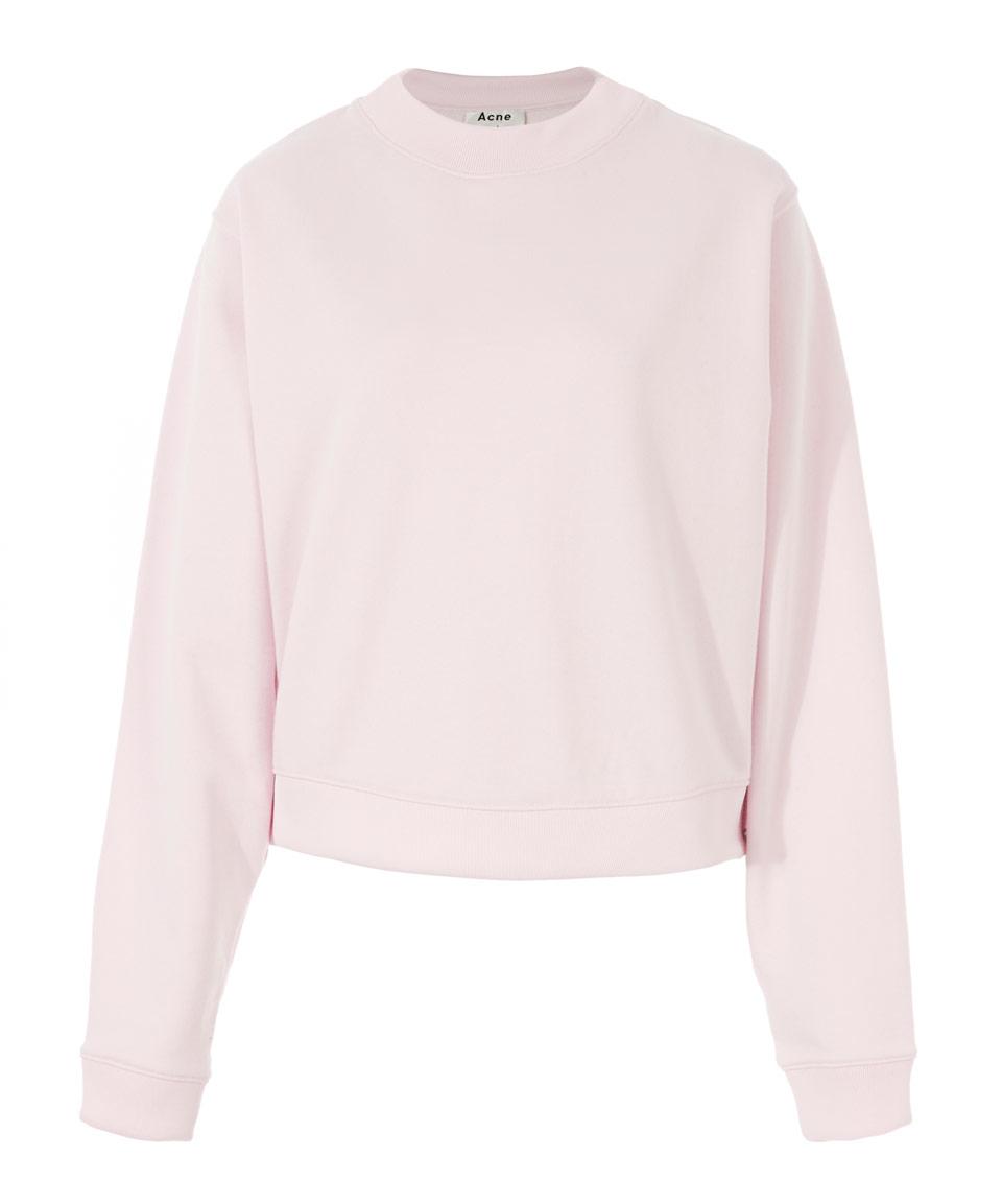 Acne studios Light Pink Cropped Fleece Bird U Sweatshirt in Pink ...