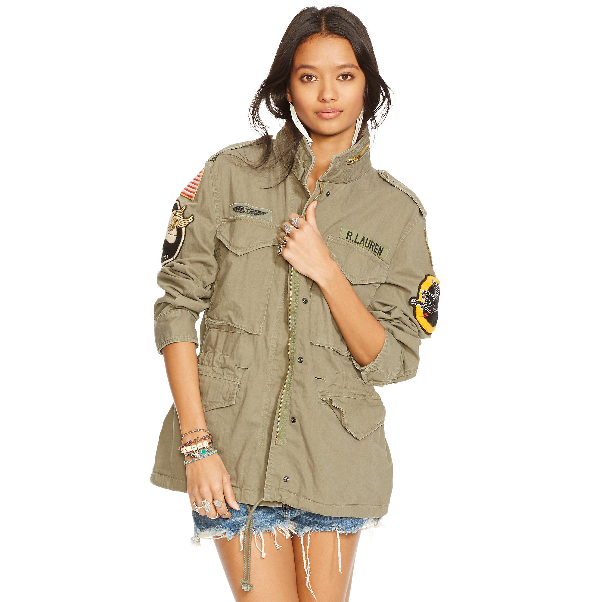 denim supply ralph lauren military patches field jacket in green. Black Bedroom Furniture Sets. Home Design Ideas