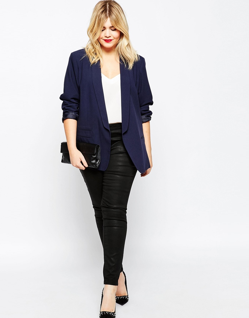 ad49a0a78c3 Lyst - ASOS Blazer In Crepe With Slim Lapel - Navy in Blue