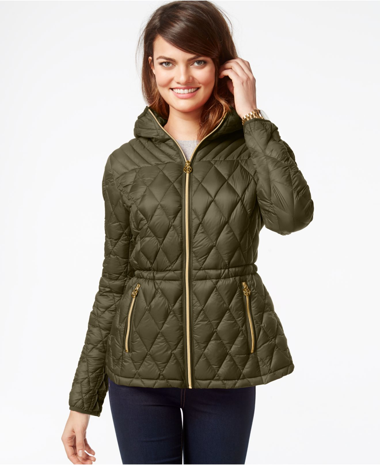 Michael Kors Michael Hooded Down Packable Jacket In Green