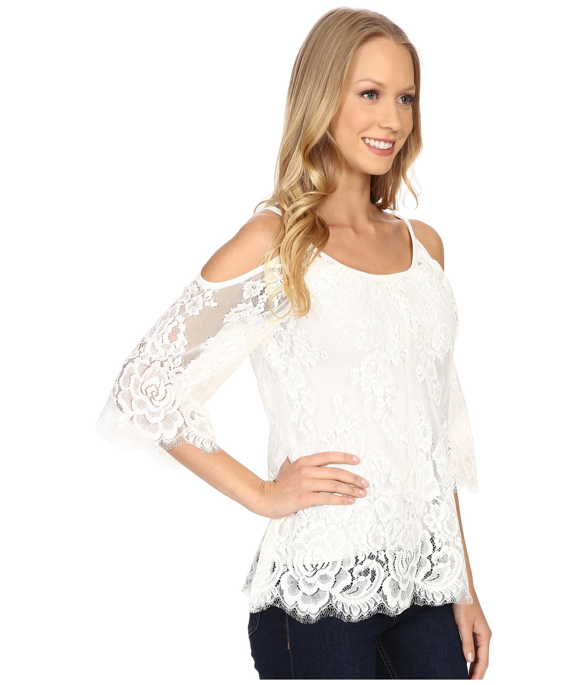 Lyst - Karen Kane Cold Shoulder Lace Top in White