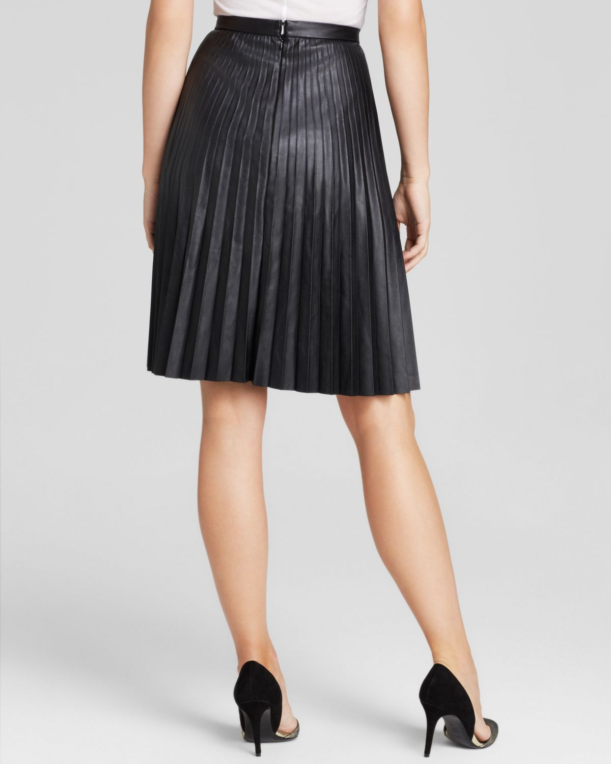 Calvin klein Faux Leather Pleated Skirt in Black | Lyst