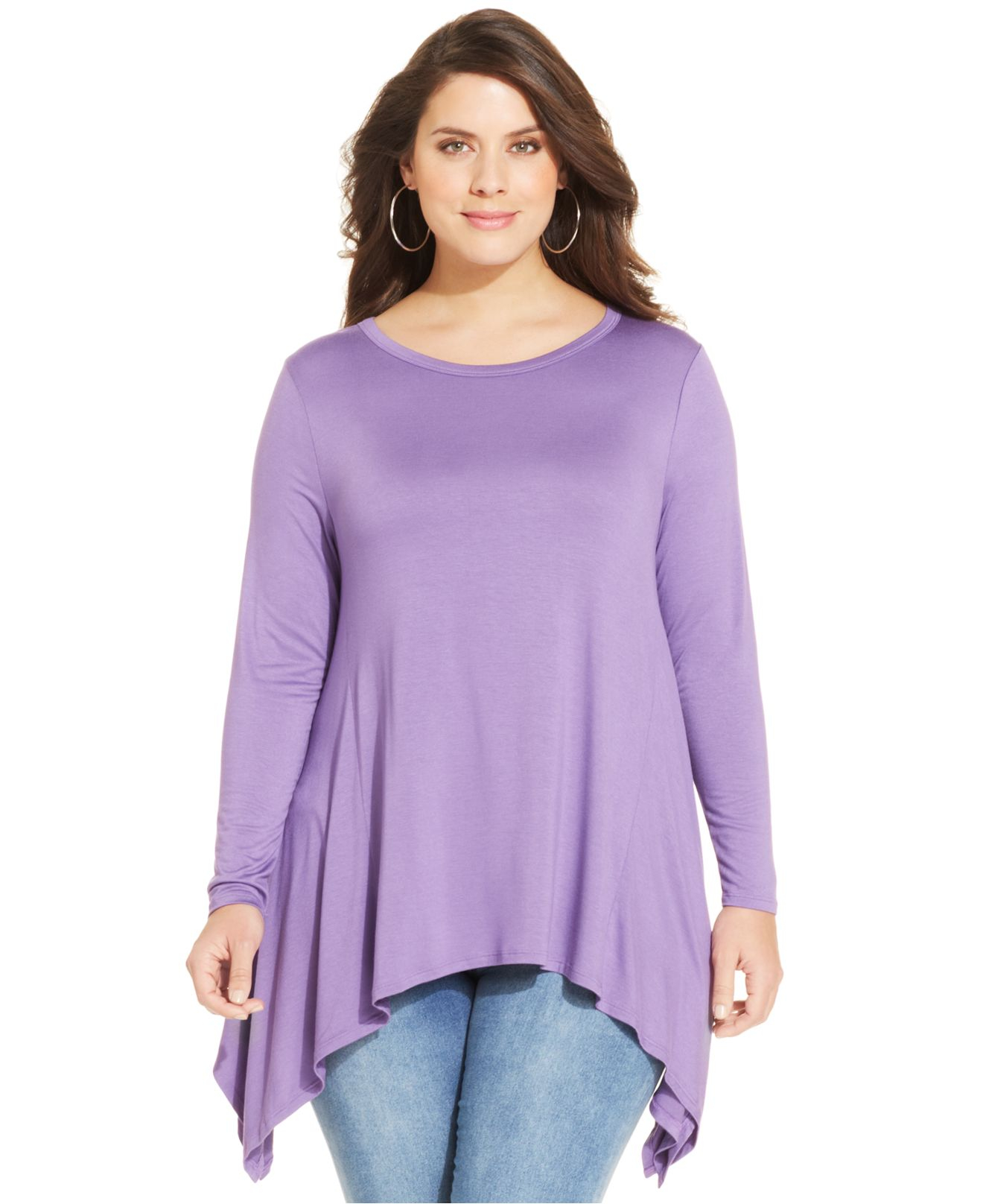 Lyst Soprano Plus Size Handkerchief Hem Top In Purple