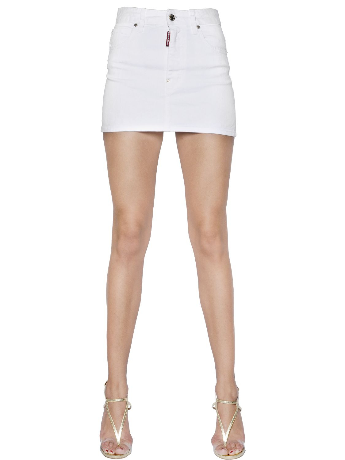 White Denim Mini Skirts - Dress Ala