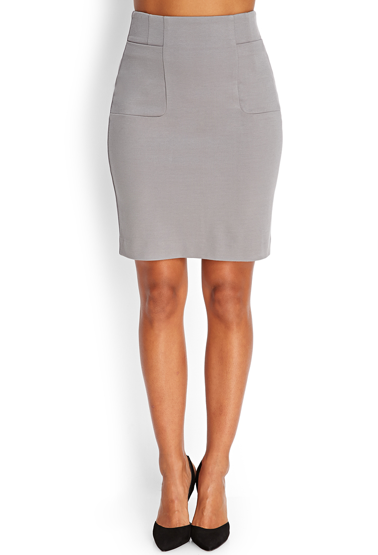 Forever 21 Patch Pocket Pencil Skirt in Gray | Lyst