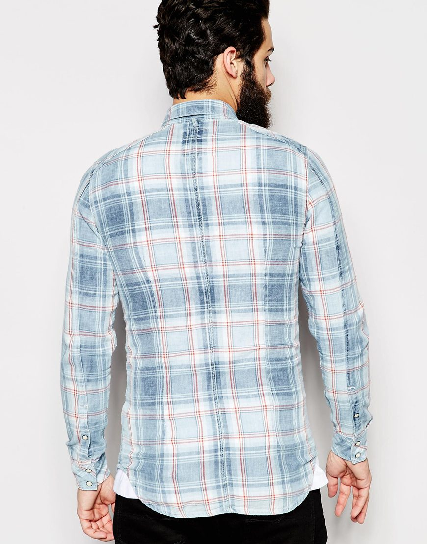 3e7b58462aa G-Star RAW Shirt Landoh Indigo Heap Flannel Check Rinsed in Blue for Men -  Lyst