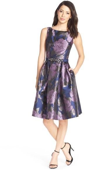 Lyst Eliza J Floral Metallic Jacquard Fit Amp Flare Dress