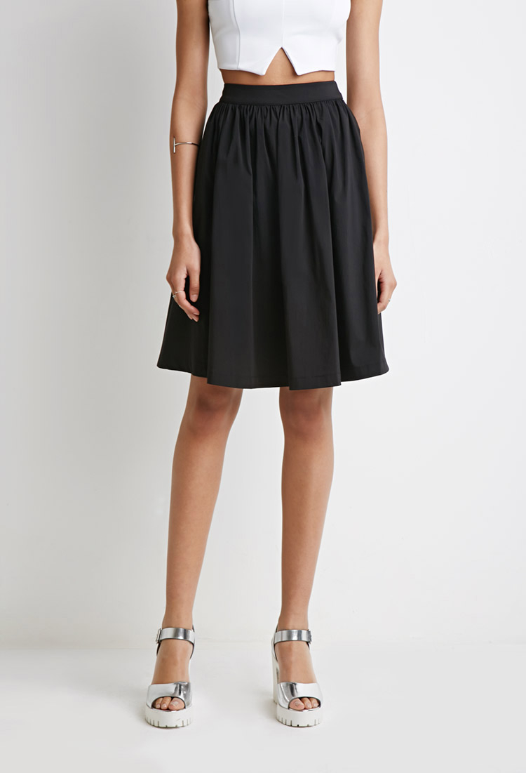 forever 21 classic a line skirt in black lyst