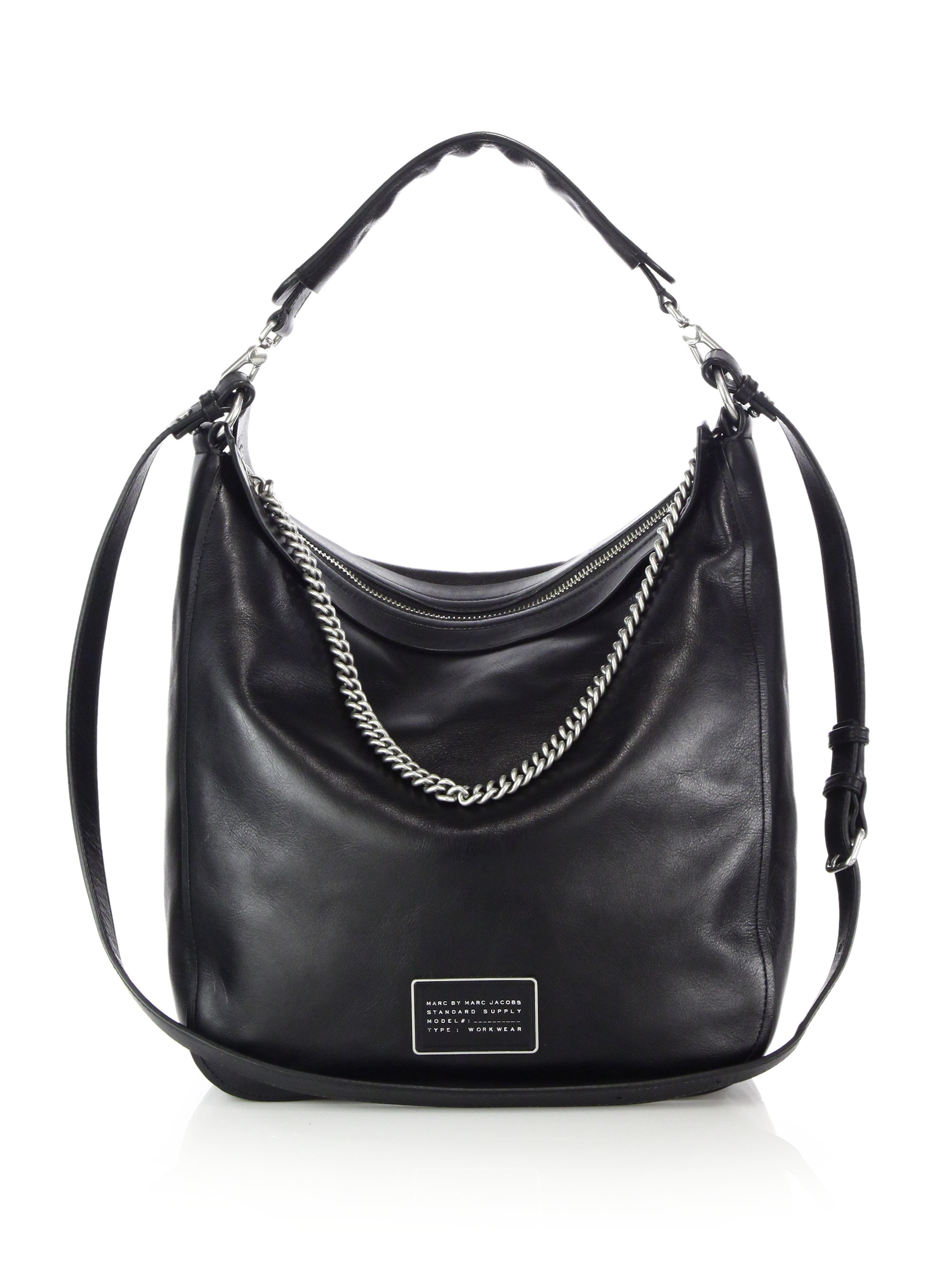 Marc by marc jacobs Top Of The Chain Leather Hobo Bag in Black | Lyst