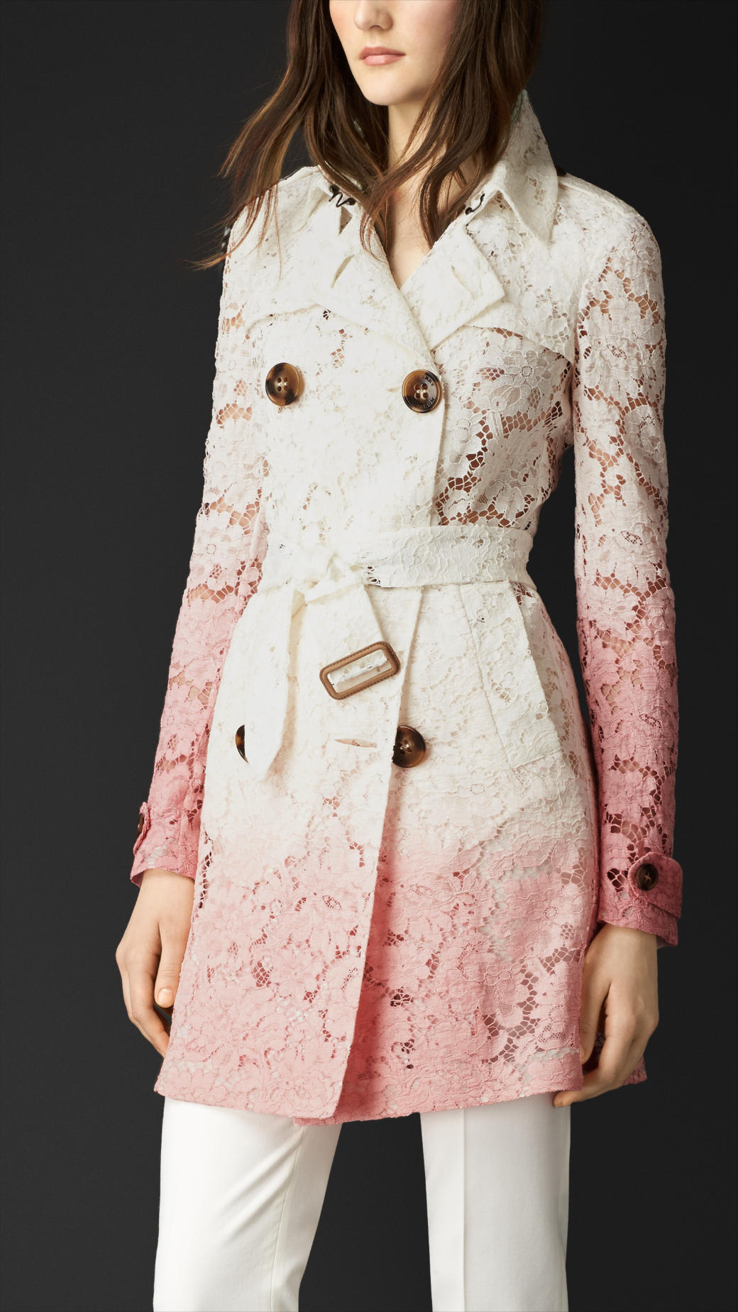Burberry D 233 Grad 233 Lace Trench Coat In Pink Lyst