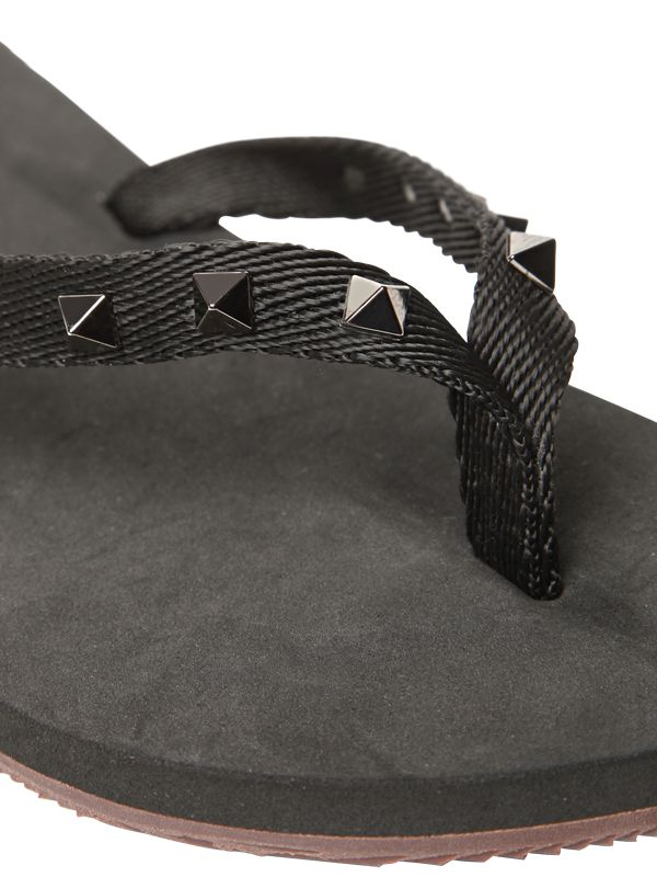 Lyst Valentino Studded Rubber Flip Flops In Black