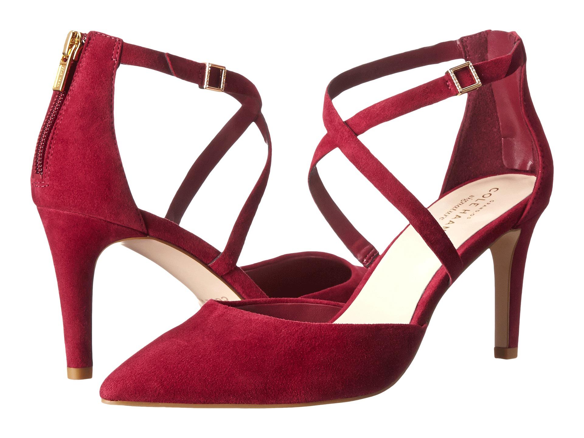 Womens Shoes Cole Haan Juliana Ankle Strap Pump 75 Cabernet Suede