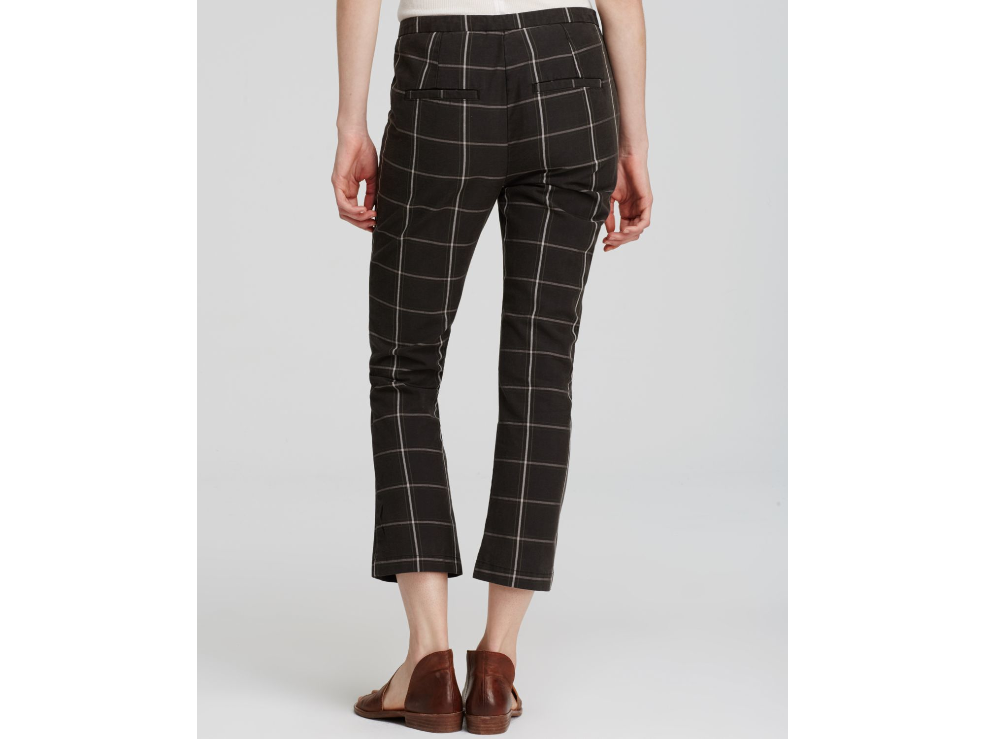 Free people Plaid Cropped Pants in Blue | Lyst