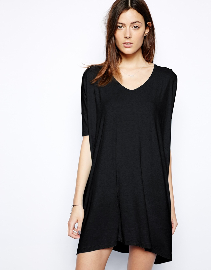 Lyst Asos T Shirt Dress With V Neck In Black