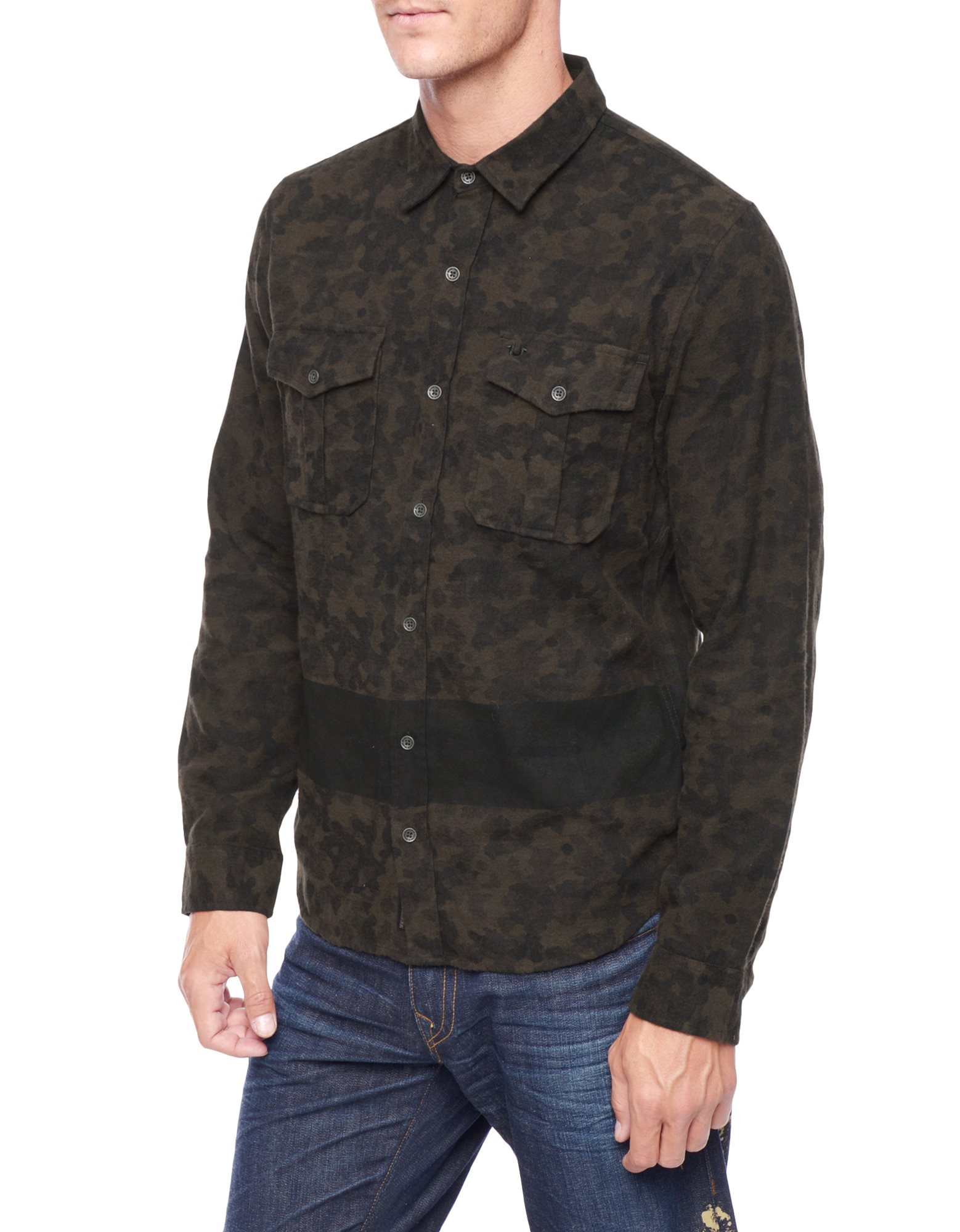 lyst true religion military camo mens shirt in green for men