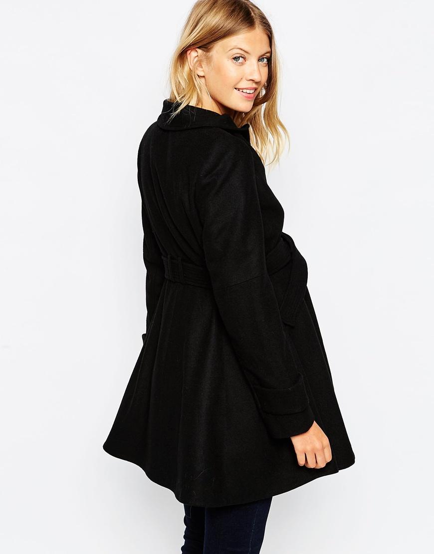 Asos Skater Coat With Funnel Neck in Black | Lyst