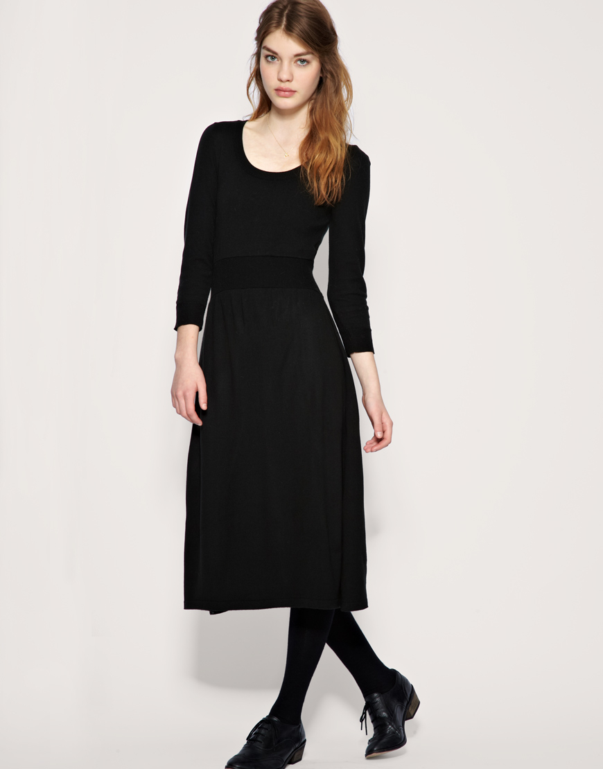 Lyst Asos Midi Knitted Fit And Flare Dress In Black