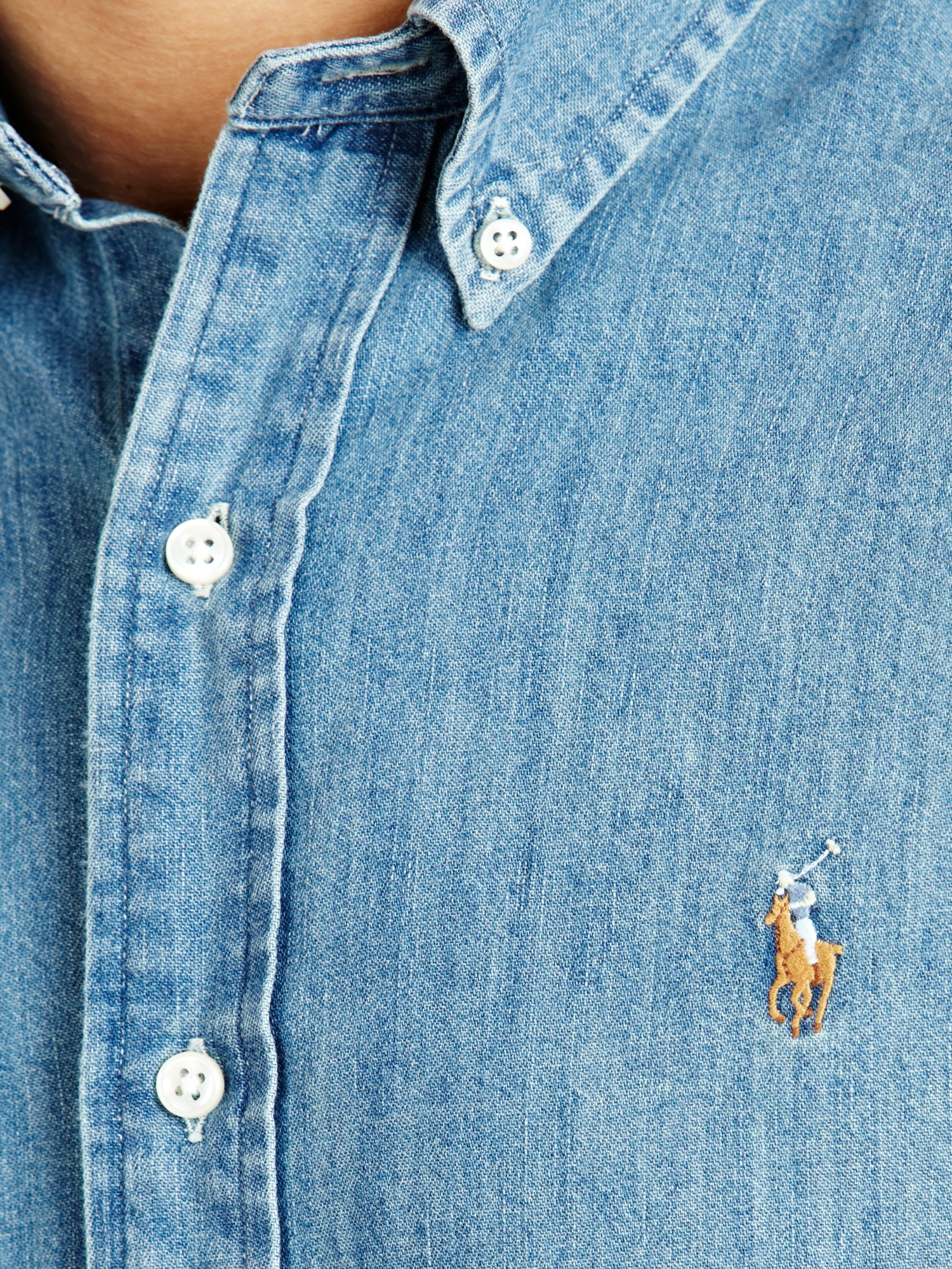 827de5eddd Polo Ralph Lauren Classic-fit Solid Denim Shirt in Blue for Men - Lyst