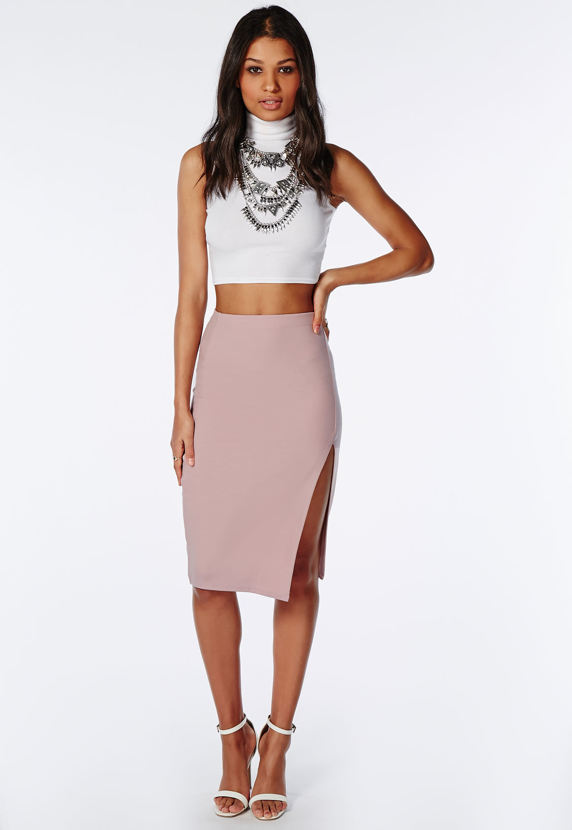 Missguided Thigh High Split Scuba Midi Skirt Mauve in Purple | Lyst