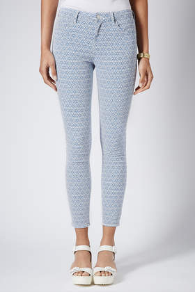 Topshop Moto Tile Print Leigh Jeans in Blue | Lyst