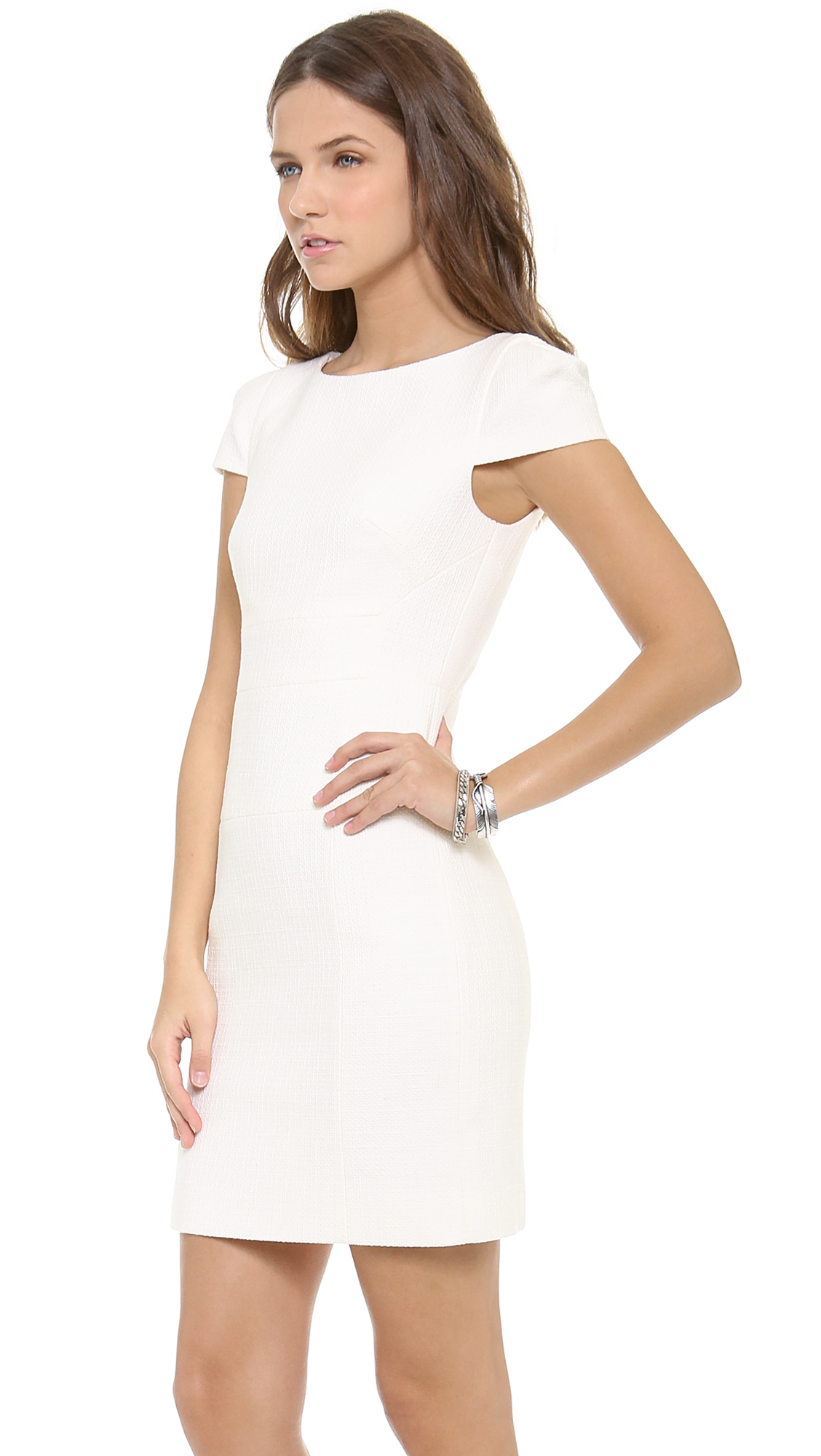 4.collective Cap Sleeve Sheath Dress in White | Lyst