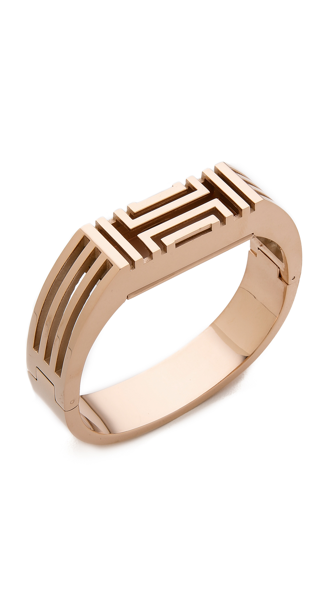 lyst tory burch for fitbit metal hinged bracelet rose. Black Bedroom Furniture Sets. Home Design Ideas