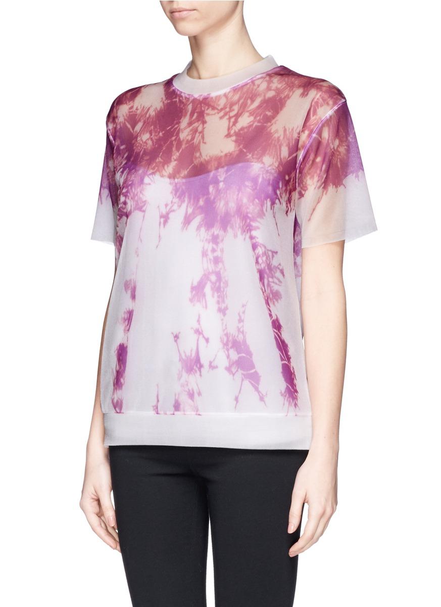 Alexander wang engineered tie dye print mesh t shirt lyst for Tie dye printed shirts