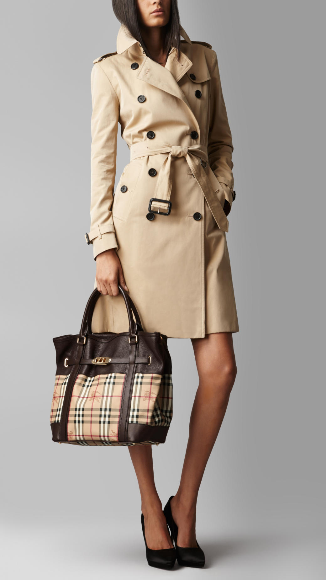 e3d17f0d9d78 Lyst - Burberry Medium Leather Haymarket Check Tote Bag in Brown