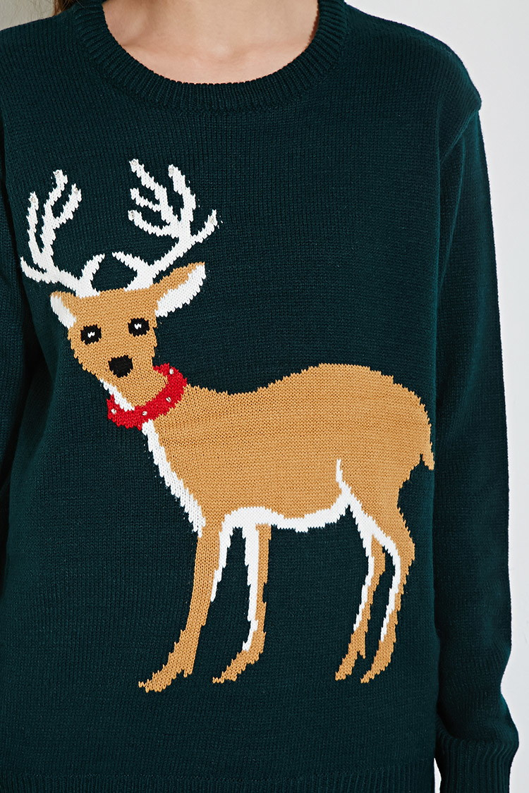 lyst forever 21 light up reindeer graphic sweater in green. Black Bedroom Furniture Sets. Home Design Ideas