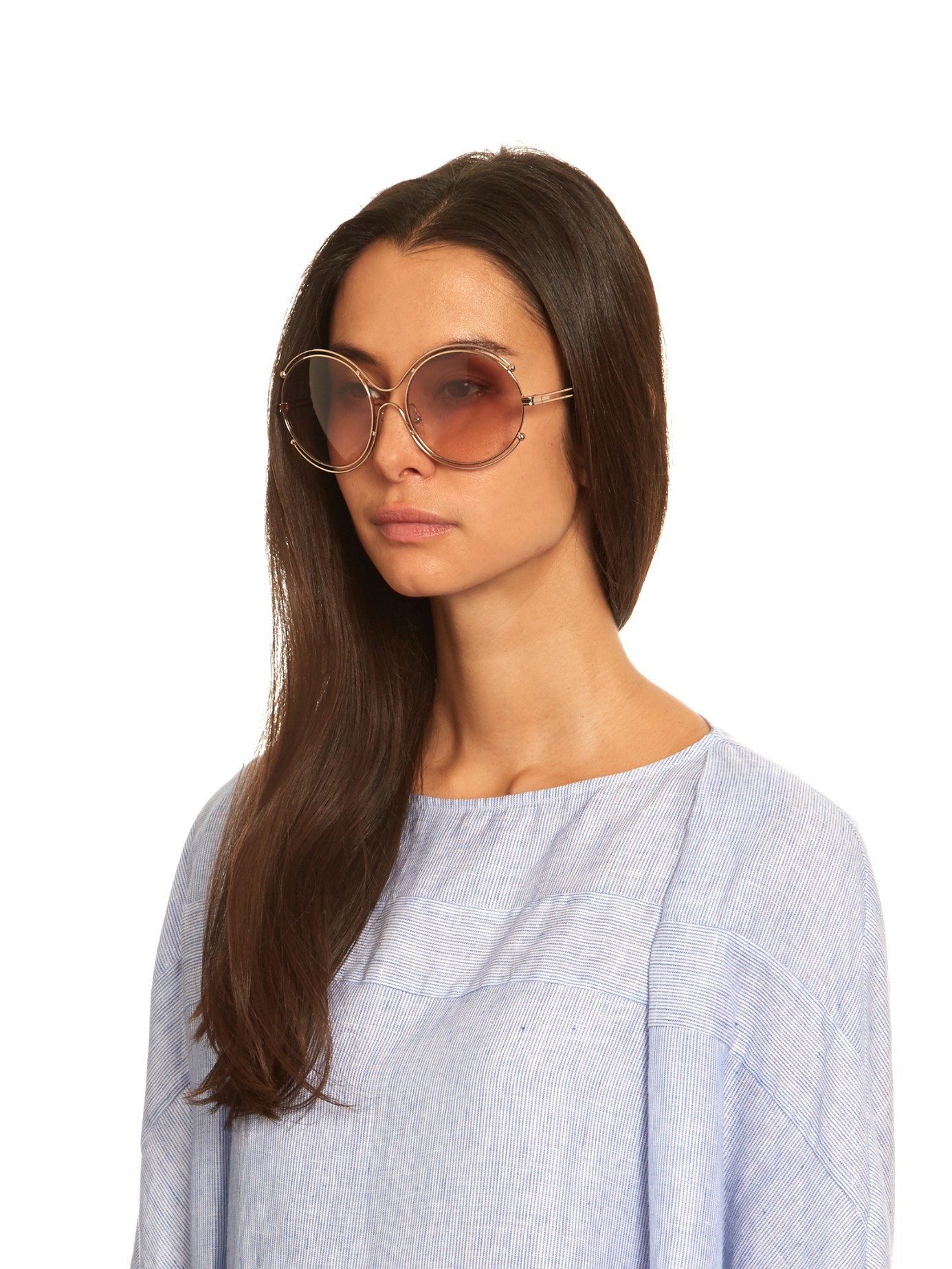 9c2df58404d6c Chloé Isidora Round-framed Sunglasses in Pink - Lyst