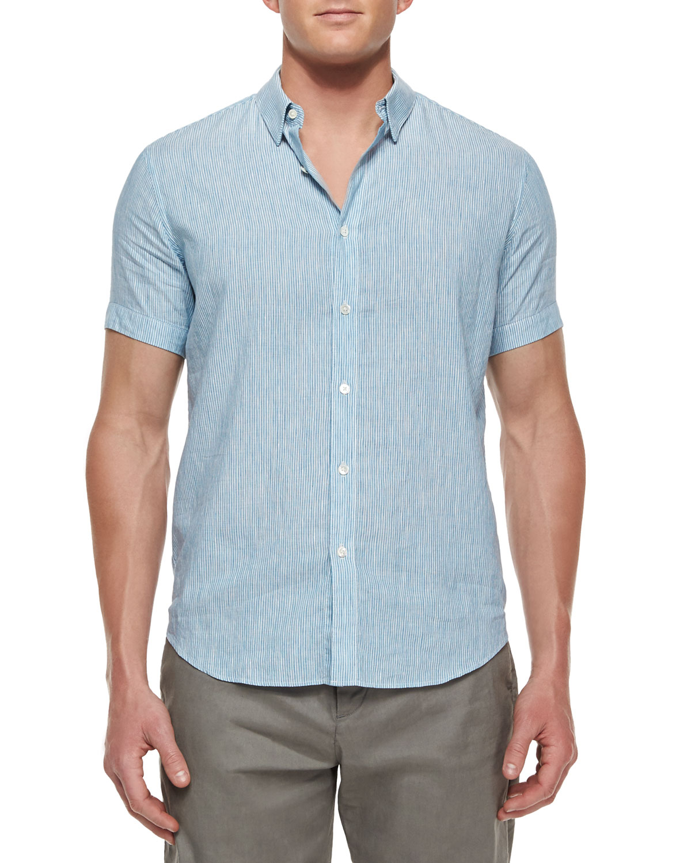 Lyst theory striped short sleeve linen shirt in blue for men for Short sleeve linen shirt