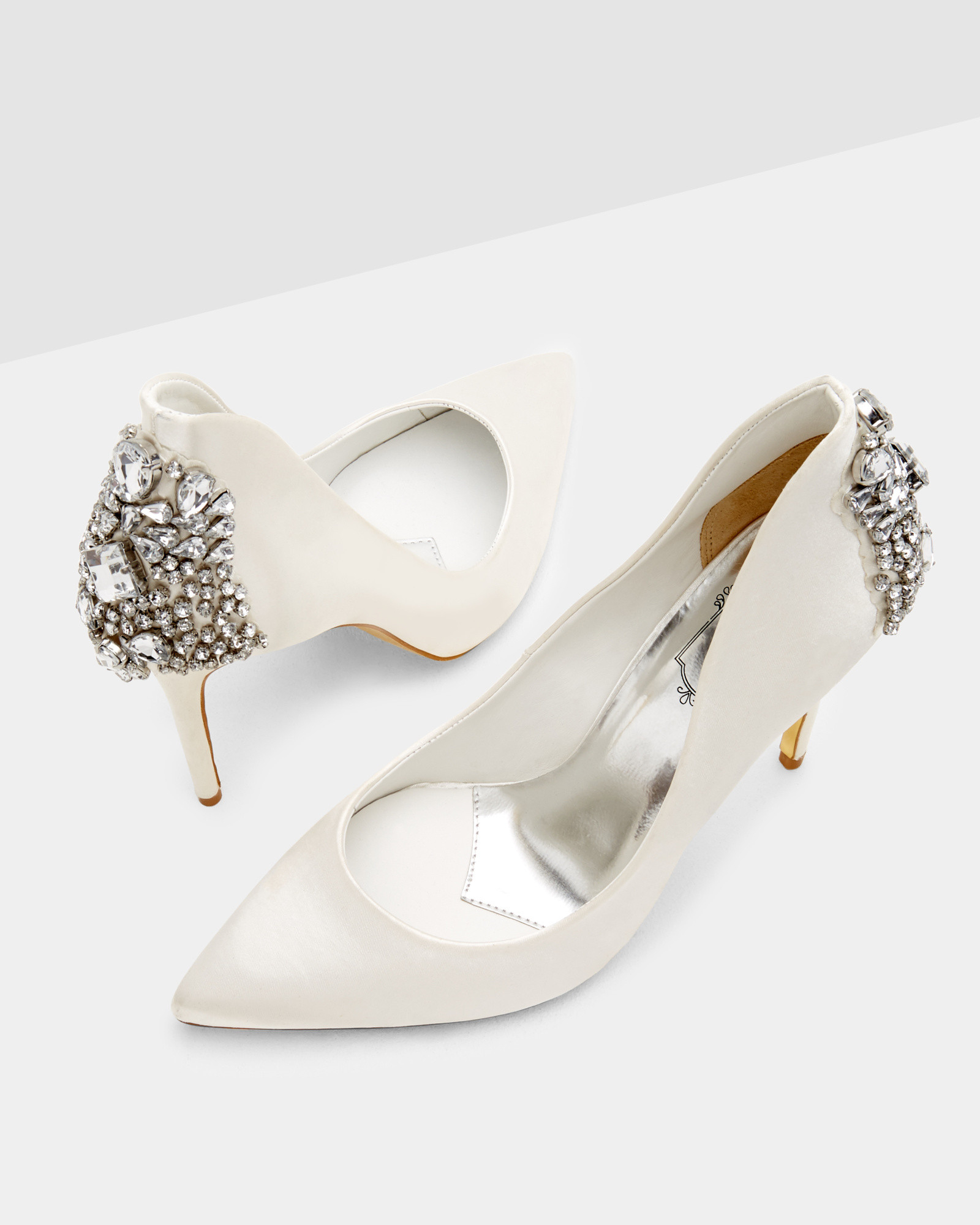 46ae4c4c157e Lyst - Ted Baker Pointed Embellished Court Shoes in Natural