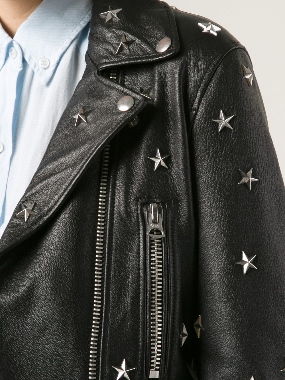 mock gallery jacket acne lyst normal in clothing black stud product studios